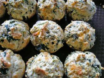 Spinach Kale Cheddar Biscuits - Snacks For St Patrick Day Menu