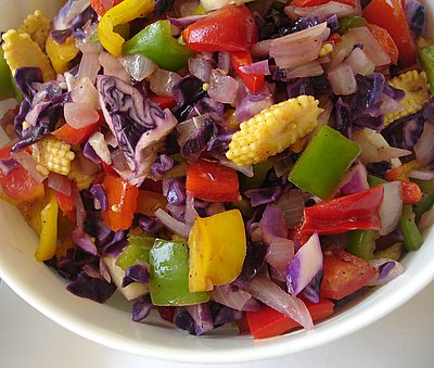 Moroccan vegetable salad served for lunch