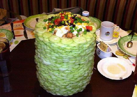 Tower salad - fresh vegetables and fruits form a part of Las Vegas menu