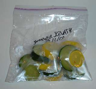Steps on how to freeze squash in a ziploc bag.