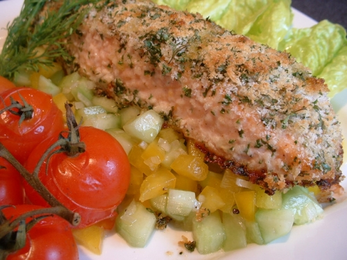 Grilled Salmon with herb and lemon sauce