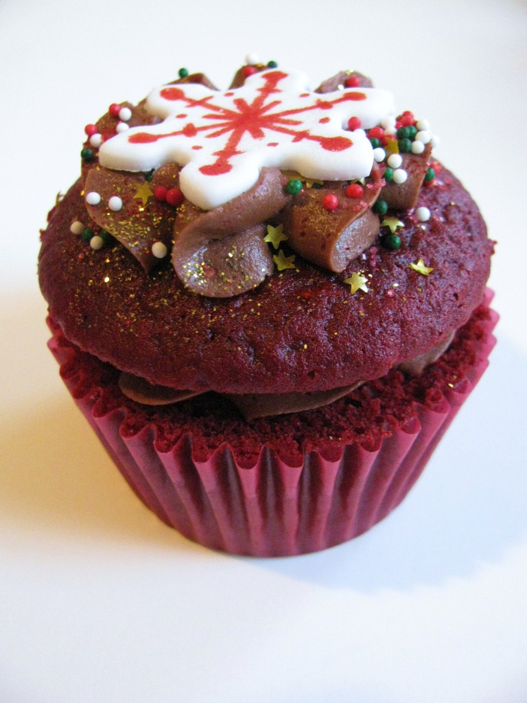 Red Velvet Cupcake With Red Wine Chocolate Ganache Frosting