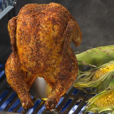Grilling a whole chicken in a gas grill