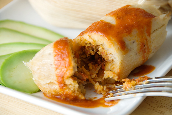 Tamales looks like a roll with its filling - delicious and healthy