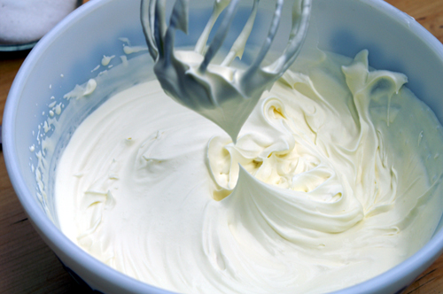 A bowl of whip cream from egg whites