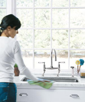 Wiping kitchen