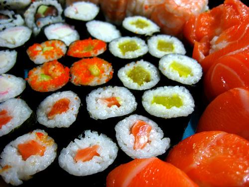 Colorful Sushi Rice Rolls Wrapped in Nari