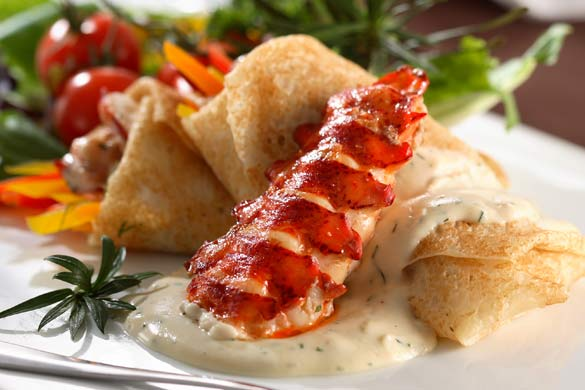 Lobster Cheddar Crepes - Cheesy Lobster Starters