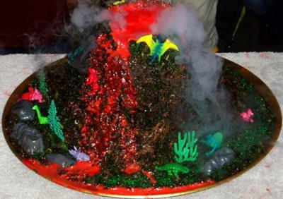 An Erupting volcano cake