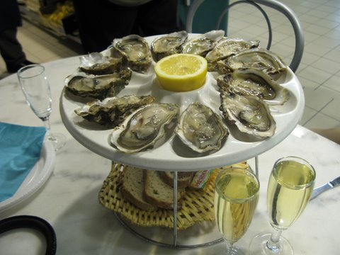 Oysters ready to be eaten - well decorated.