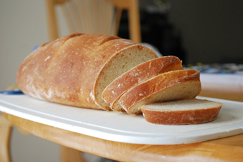 Slice homemade bread