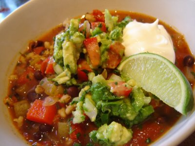 Avocado salsa served for dinner