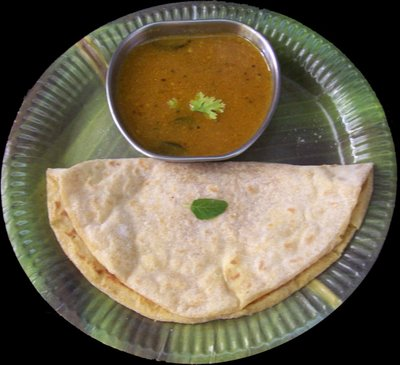 At time Puran Poli may be eaten with a tangy soup called Kattachi amthi