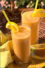 Sumptuous chilled banana smoothie is ready to be served