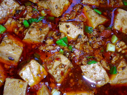 Ma po tofu is a very spicy dish served for breakfast
