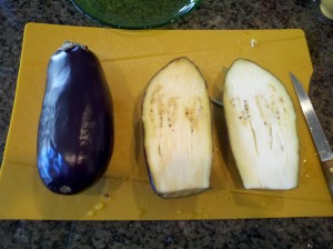 Making long slcies of the eggplant