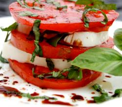Caprese salad with red ripened tomatoes