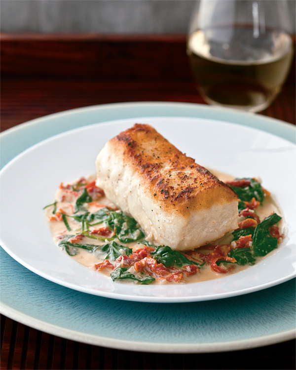 Grouper a la plancha with sun dried tomatoes and spinach for Grouper fish recipes
