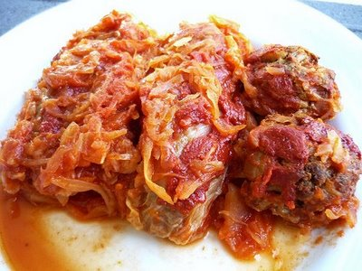 Lebanese style cabbage rolls for lunch