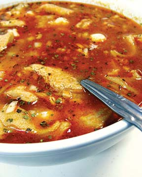 Menudo is a traditional soup of Mexico which is made of beef stomach