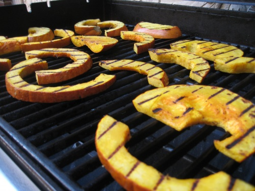 Cook pumpkin on a gas grill