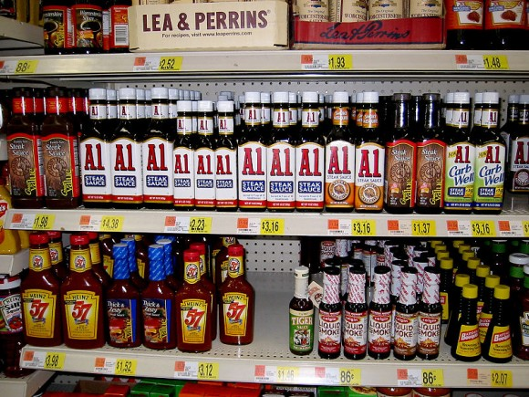 Delicious steak sauces in a supermarket