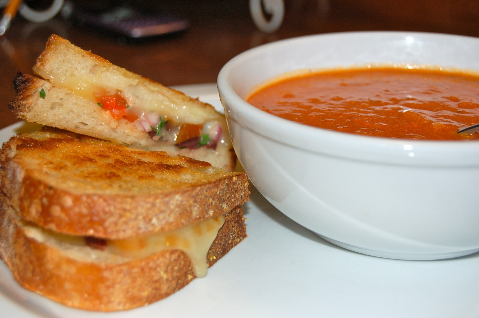Grilled Cheese Sandwich and Roasted Tomato Soup