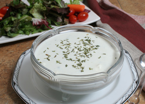 Blue cheese dressing for the sumptuous hot deep fried chicken wings