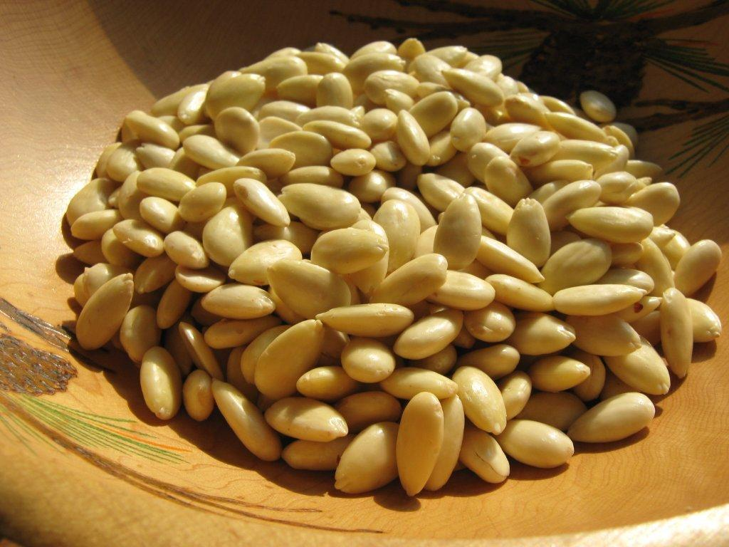 Peeled almonds before storing