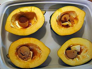 Sliced acorn squash before steaming