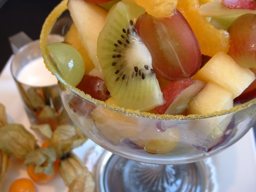 fruit salad topped with yummy yogurt