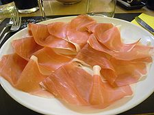Slices of cured ham from Parma Ham Festival