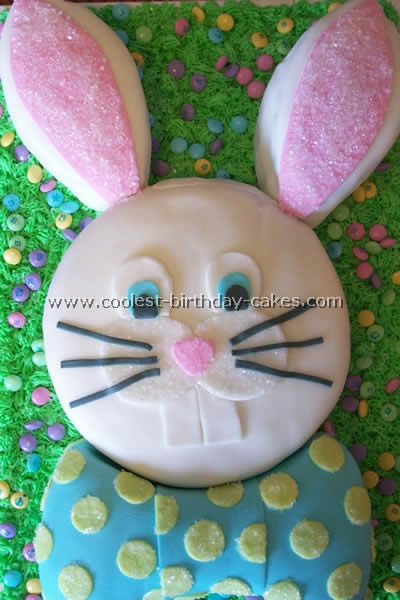 Beautifully decorated Easter bunny cake