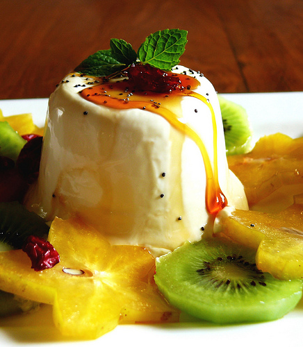 Panna cotta with caramel sauce