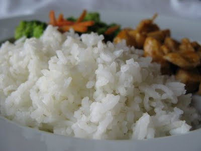 Perfectly steamed rice ready to be served
