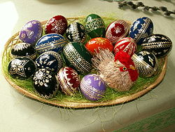 Easter eggs in a tray