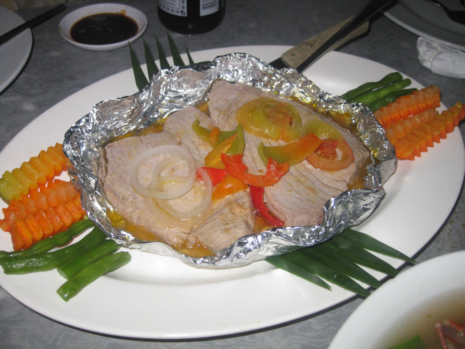 Delicious steamed tuna served