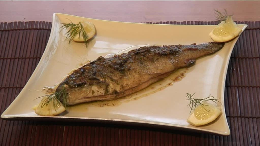 Delicious steamed whole trout