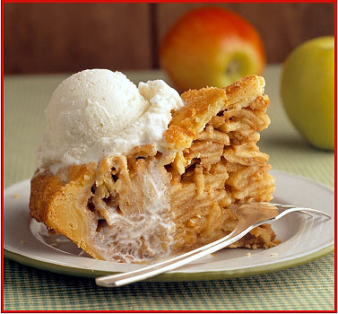 Apple PIe Topped With Ice Cream