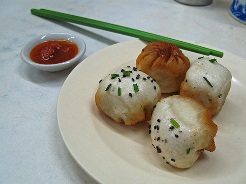 Shengjian Mantou Served with a chili dip.