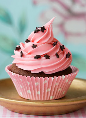 Chocolate Cupcake With Creamy Cherry Frosting