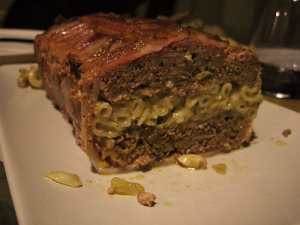 Macroni cheese stuffed meatloaf wrapped in bacon