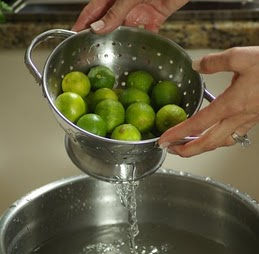 Lime being cleaned in vinegar solution