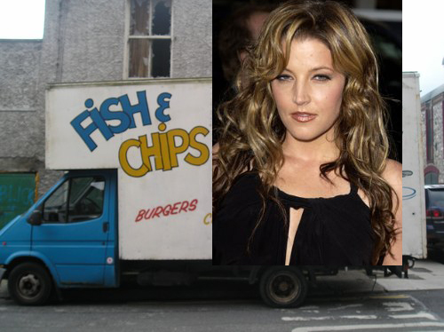 Lisa Marie Presley selling fish n chips