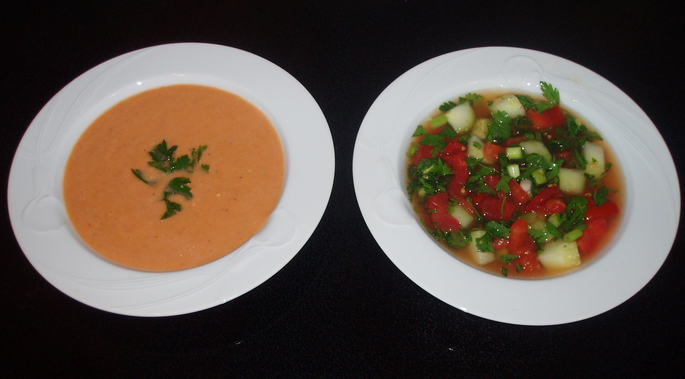 There are 2 popular versions of Gazpacho-the simple peasant soup and the one served in urban households