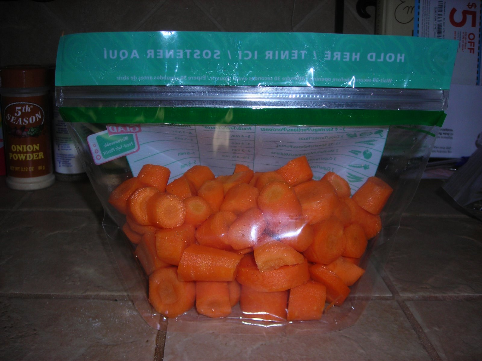 Prepated carrots for microwave steaming
