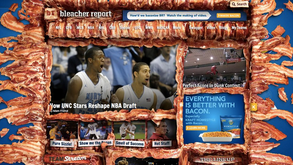 Bleachereport.com Goes The Bacon Way