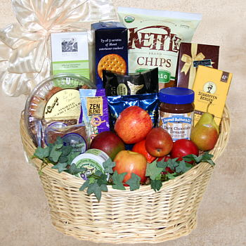 Adding non-fruit edibles to kosher fruit basket adds a personal touch to Hanukkah food gifts