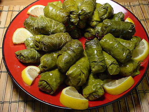 Dolma filled with rice currants herbs and spcies - a variation of Dolma