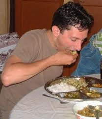 Traditionally Indians use their finger to eat rice and other foods